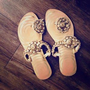 Seychelles Gold Flower Petal Sandals